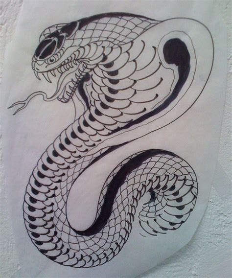 new tattoo pool drawn cobra serpent pencil and in color drawn cobra serpent