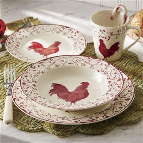 16 piece rooster toile dinnerware set from through the