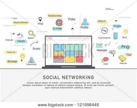 network infrastructure design template one page web design template line flat icons based on