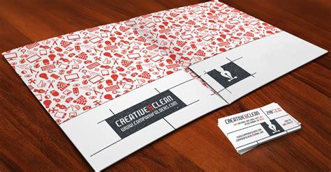 creative clean folder and business card free ai template