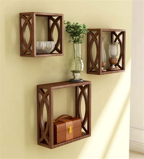 home interior products stylish wall shelves set of 3 by home sparkle wall shelves home decor pepperfry