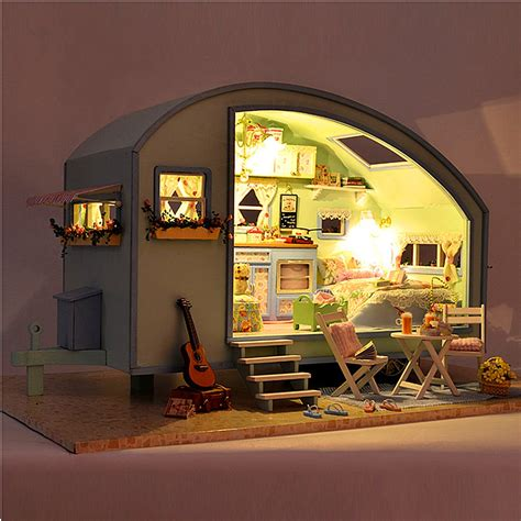 wooden doll house canada diy wooden dollhouse miniature kit doll house led music voice control alex nld