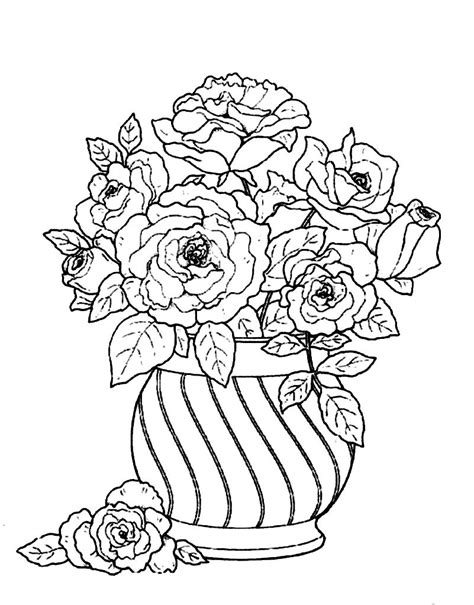 Flowers In Vase Coloring Pages by Flower Vase Coloring Page Printable Coloring Pages Vase Coloring Book Page In General Style