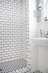 white subway tile black grout bathroomherpowerhustle