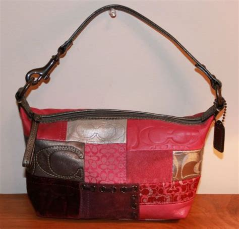 Pink Patchwork Coach Purse - coach small pink purple silver signature patchwork