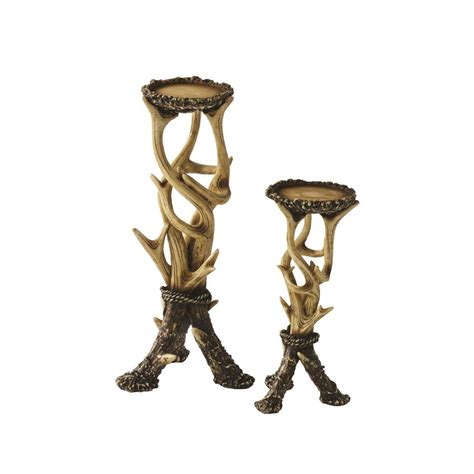Western Dining Room Tables faux antler candle holders set of 2