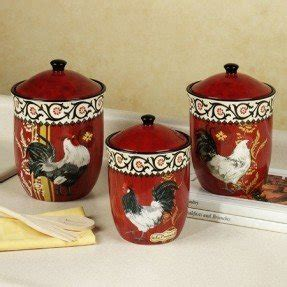 country decor rustic red rooster ceramic kitchen canister country canister sets for kitchen foter
