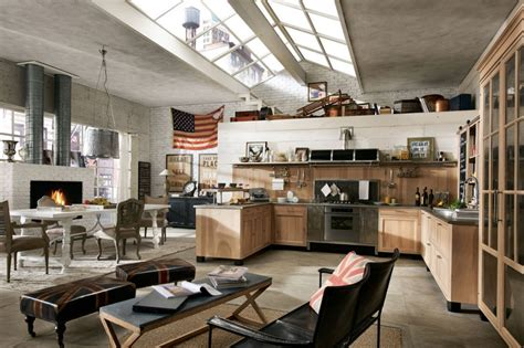 Open Plan Kitchen And Living Area by The Staggering Modern Industrial Style Open Plan Kitchen