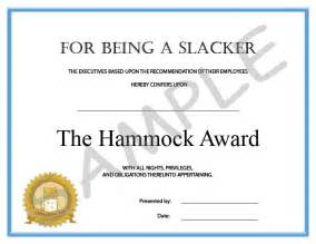 Funny printable certificates the hammock award photo by office rave