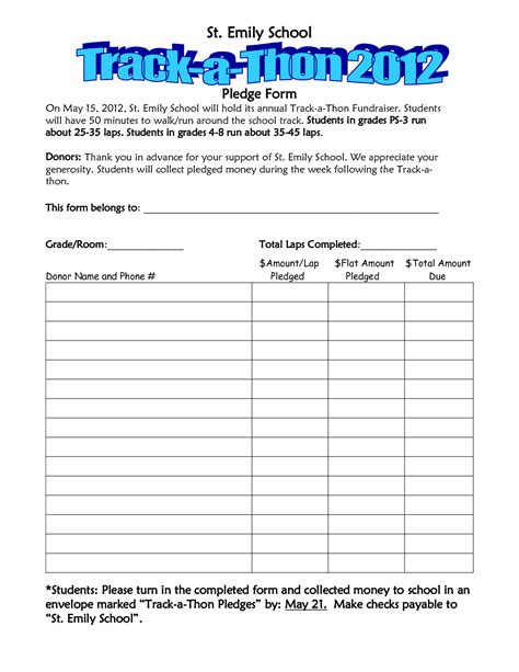 fundraiser pledge form template walkathon pledge form template invitation templates