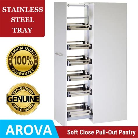 stainless steel swing out pantry pull out pantry anti slip wooden trays arova hardware