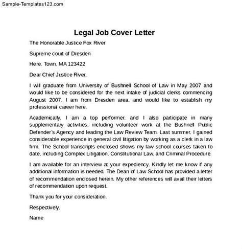 legal job cover letter exle sle templates