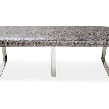 gray leather bench bebe leather bench gray entryway bench from one kings lane