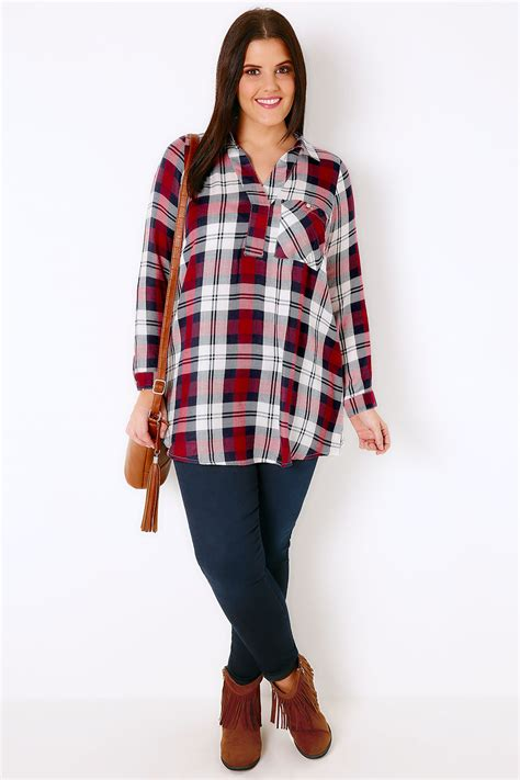 White Berry Lblouse Original navy white berry oversized checked shirt with v neck plus size 16 to 36
