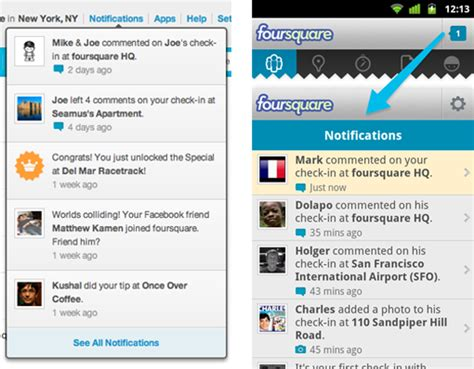foursquare for android foursquare for android updated with notification tray