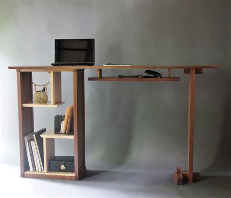 Stand Up Desk In Walnut Modern Home Office Custom Wood