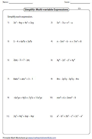 Expressions And Equations Worksheets by Simplifying Algebraic Expression Worksheets