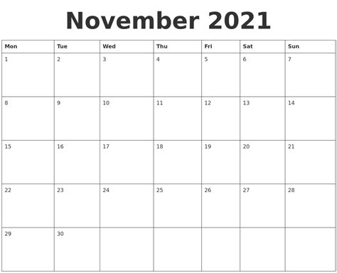 blank calendar template starting with monday november 2021 blank calendar template