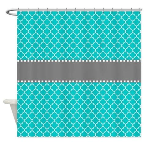 teal and grey shower curtain teal gray quatrefoil shower curtain by
