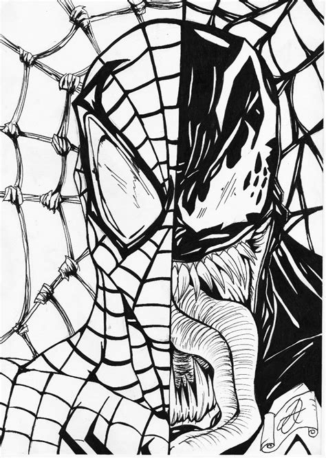 the gallery for gt spiderman vs venom coloring pages