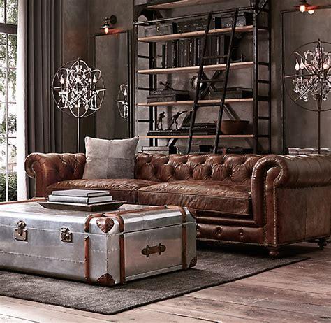 Chesterfield Restoration Hardware 76 quot kensington leather sofa