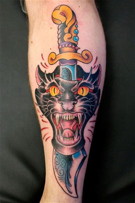 tattoo old school dagger arm old school dagger panther tattoo by salvation gallery