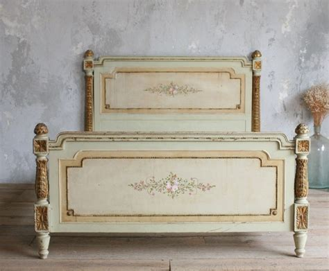 French Provincial Vanity For Sale Vintage Shabby Hand Painted French Style Floral Bed