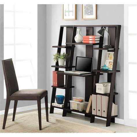 leaning ladder 5 shelf bookcase espresso leaning ladder 5 shelf bookcase espresso leaning ladder