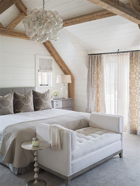bedroom  rustic wood beams transitional bedroom