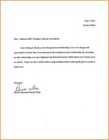 Thank You Note For Scholarship Recommendation 10 Thank You Letter Scholarship Letter Format For