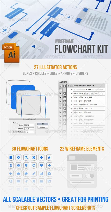 flowchart display wireframe flowchart kit graphicriver