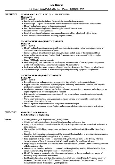 manufacturing quality engineer resume sles velvet
