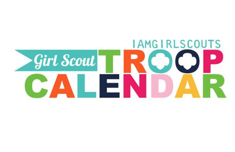 girl scout troop calendar graphic blue flag no troop level