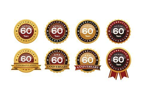 60TH Anniversary Badges Vectors   Download Free Vector Art