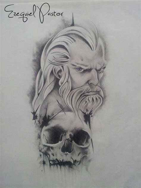 pencil drawings tattoo designs viking realistic pencil and in color viking
