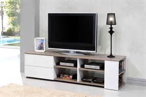 meuble tv leader blanc brillant chene