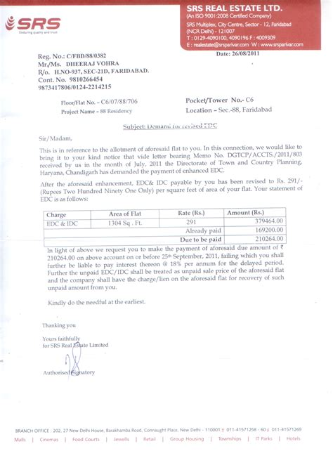 Demand Letter By Builder Demand Letter Of Increased Edc From Srs Even After Taking Possession Images Frompo