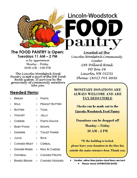 food pantry flyer needed items 2016 jean s playhouse
