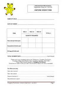 uniform order form croughton pre