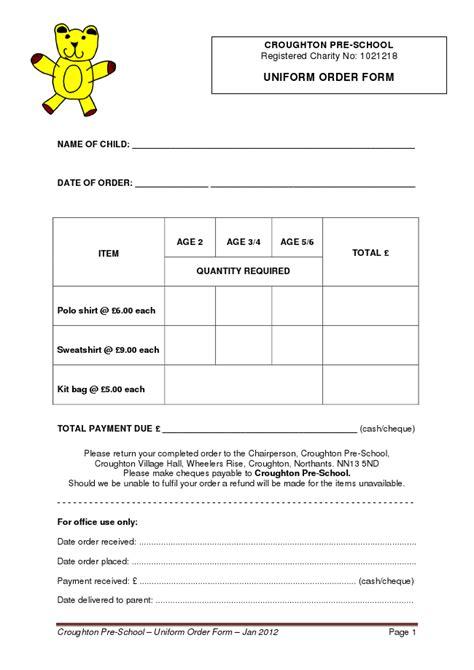 school order form template order form croughton pre school