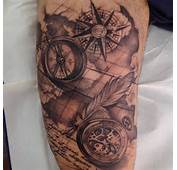 Grey Ink Compass Tattoos On Right Thigh