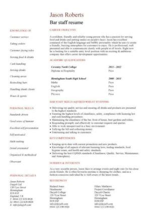 Entry Level Resume Templates Cv Jobs Sle Exles Free Download Student College Graduate Bar Staff Template