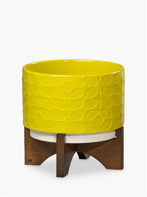 orla kiely ceramic pot  wooden stand sixties stem