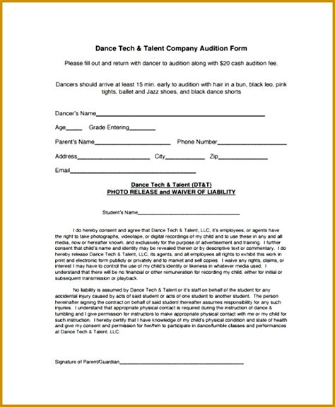 talent show registration form template 3 talent show registration form template fabtemplatez