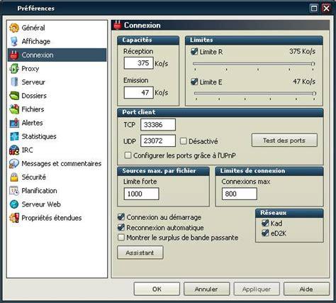 emule port test ouvrir 201 mule clic sur pr 233 f 233 rence puis sur connexion