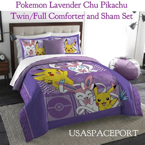 3pc pokemon twin full bedding comforter pikachu sheet