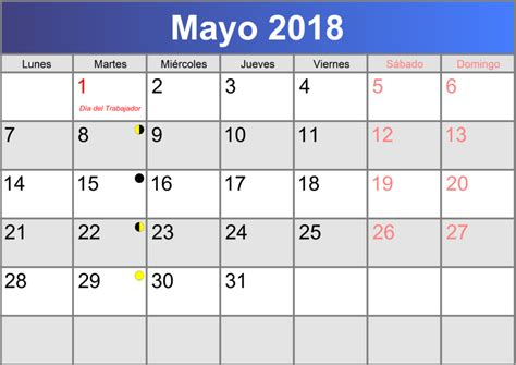 Calendario 2018 Mayo Calendario Mayo 2018 Imprimible Pdf Abc Calendario Es