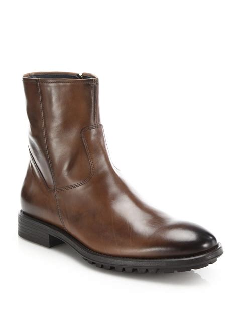 to boot harrison leather side zip boots in brown for