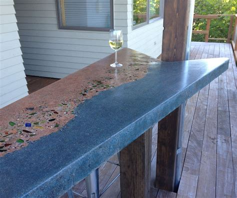 Glass Cement Countertops by Concrete And Glass Bar