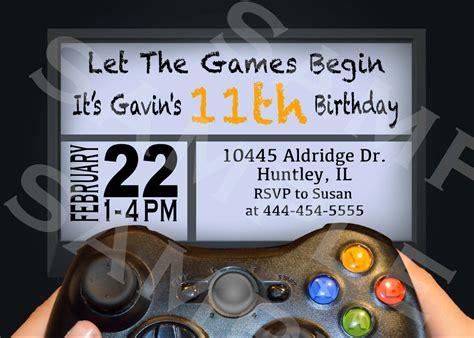 themed gamer party video game birthday party invitation gamer theme invitation